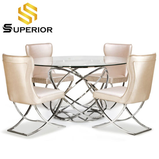 China Dining Room Furniture Small Round Glass Restaurant Table With Chair China Stainless Steel Dining Table Home Furniture
