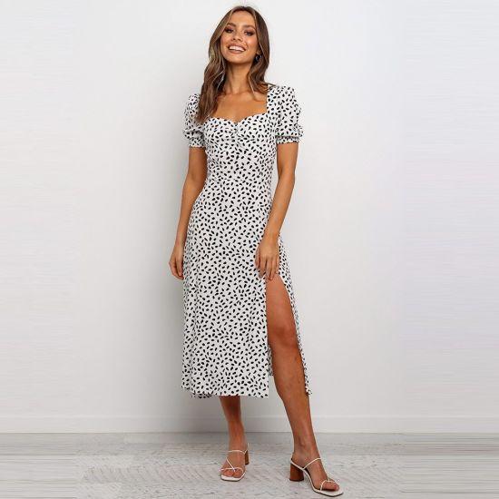 Printed Polka DOT Slit Skirt Casual Dress Summer Women Clothes