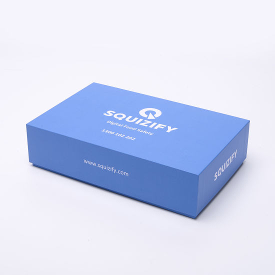 Wholesale Custom Logo Blue White Lid Top Cover and Base Bottom 2 Pieces Apple Type Cover and Tray Rigid Gift Paper Packaging Box
