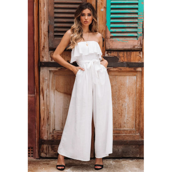 Casual Trousers Suit Belted Clothing Summer Women Jumpsuit Fashion Clothes