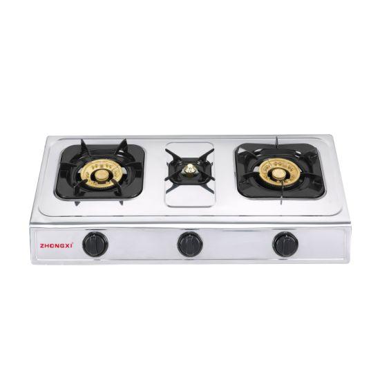 Three Burner Portable Butane Gas Pipe Gas Stove Gaz Gas Cooker