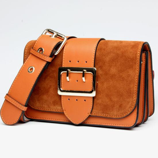 Fashion Wide Shoulder Strap Leather Ladies Shoulder Handbags with Belt Buckle