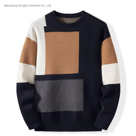 Round Neck Contrast Color Pullover Men's Fashion Comfortable Sweater