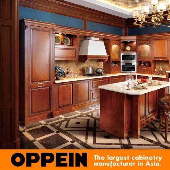 China Oppein Antique Alder Wood Luxury Kitchen Cabinets Op16 120b