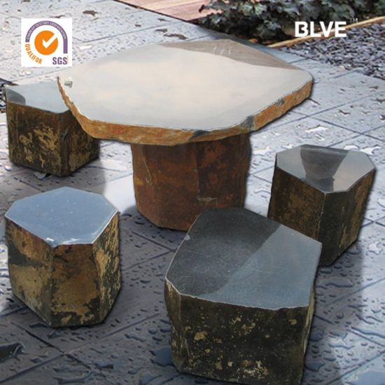 Outdoor Garden Round Hand Carved Marble Table Benches Sales Mbg-05
