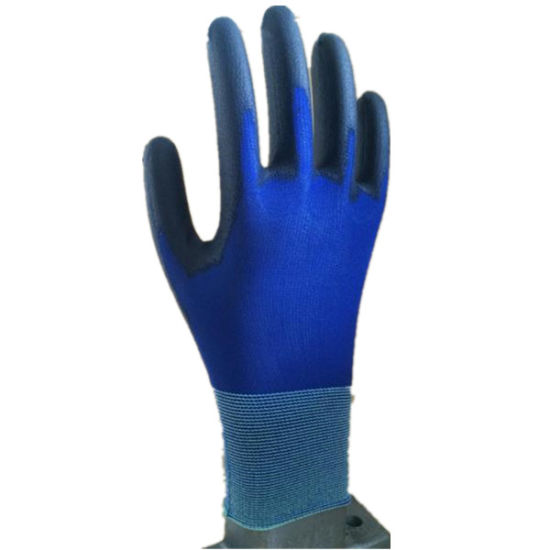 18g Blue Nylon String Knit Liner Black PU Coated Glove pictures & photos