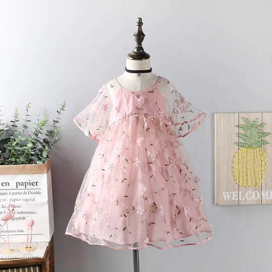Summer Baby Girls Embroidery Lace Fairy Dress Princess Kids Fashion Boutique Candy Flower Clothing
