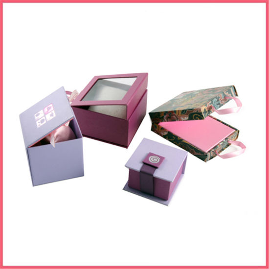 Custom Printed Cardboard Paper Packaging Jewelry Boxes with Ribbon and Window Manufacturer Supplier Factory