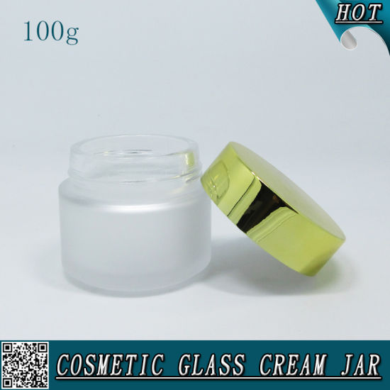 100ml Frosted Cosmetic Glass Cream Jar with Aluminum Lid pictures & photos