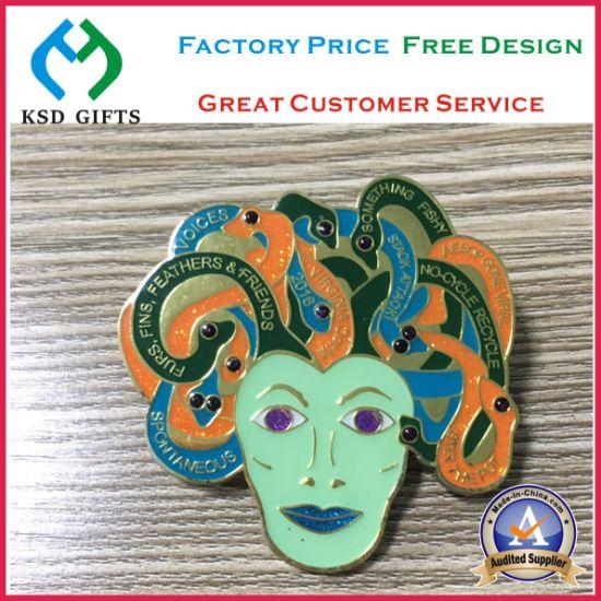 Brass Die Struck Enamel Epoxy Metal Crafts Pin Badges with Glitter