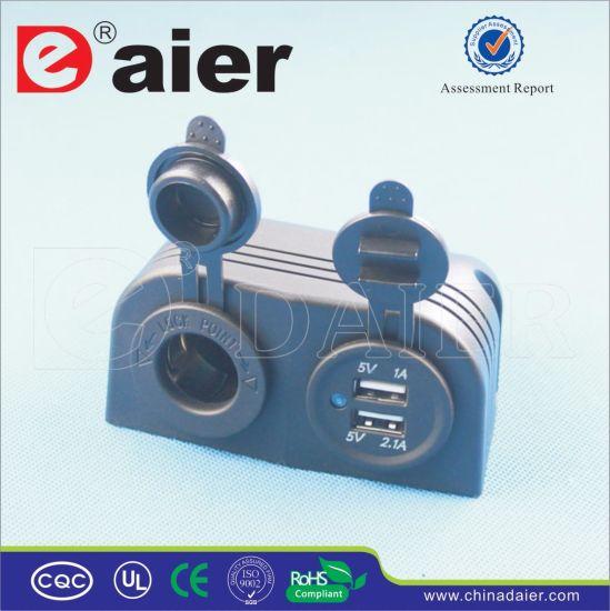 Daier Car USB Socket Tent Two Hole Car Power Socket