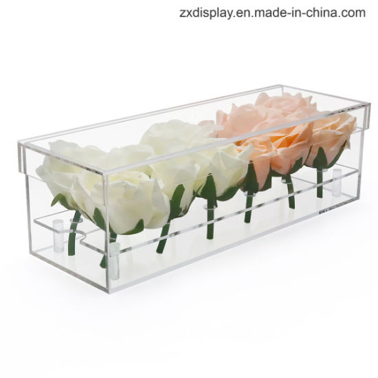 Clear Plastic Rose Display Case for 12 Roses Acrylic Flower Gift Box with Lid