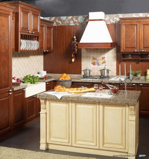 Luxury Kitchen Furniture Cherry Wood Kitchen Cabinet pictures & photos