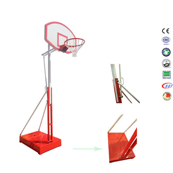 Red Movable Height SMC Board Basketball Stand with Backboard