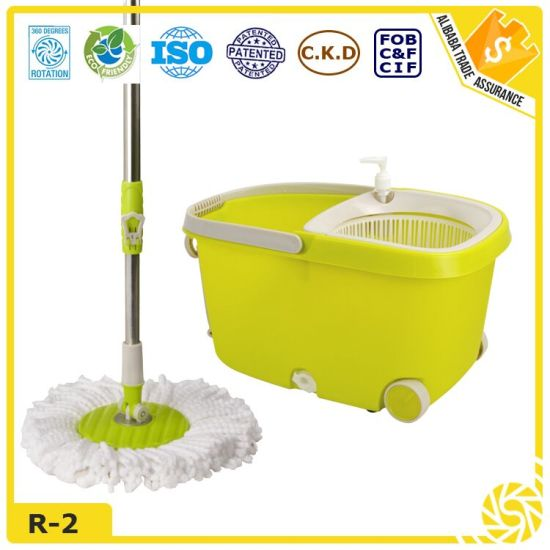 360 Rotating Plastic Magic Spin Microfiber Mop with Wheels pictures & photos