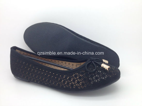 Black Summer Style PU Flat Shoes for Lady