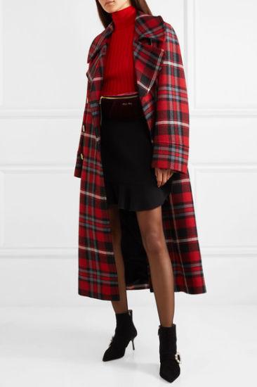 2018 High Quality Winter Jackets Oversized Tartan Check Wool Coats