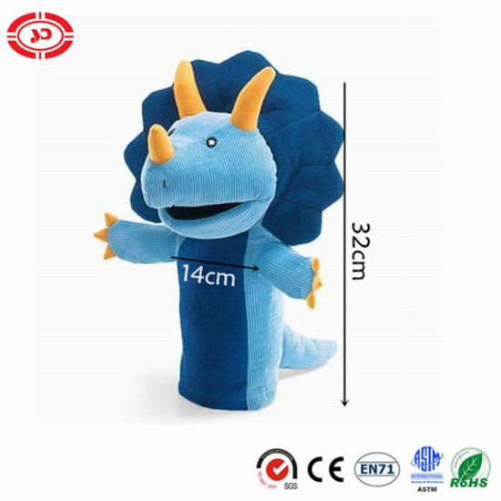 Blue Dinosaur Hand Puppet Kids Educational Plush CE Toy