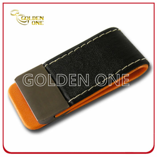 High Quality Rectangle Shape Genuine Leather Money Clip pictures & photos