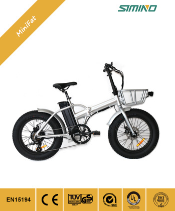 Folding Electric Fat Tire Bike with Front Basket