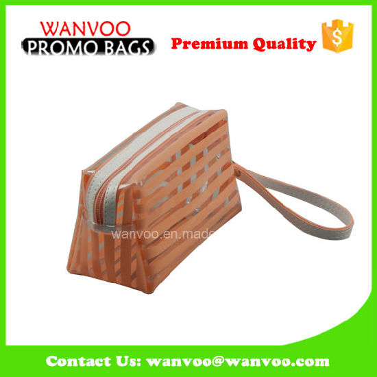 Orange and White Stripe PVC Makeup Bag with Handle pictures & photos