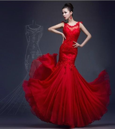 China Red Wedding Dress Sleeves Lace Chiffon Prom Party Gowns