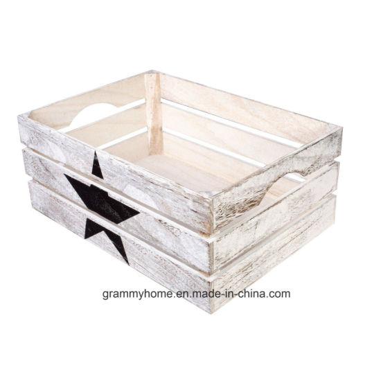 China Star Paint Wooden Crates Retail Display Shelf Box Storage