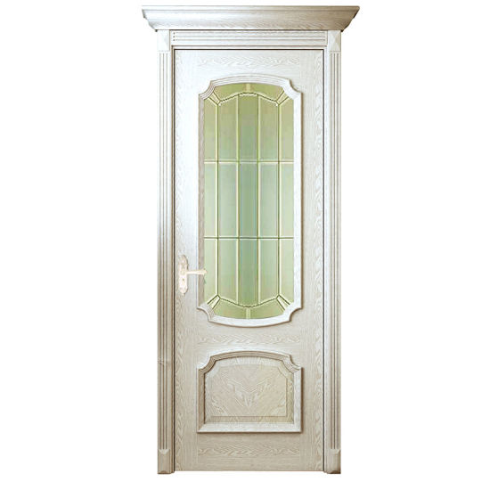 Oppein Modern White Solid Wood Interior Door With Glass (MSGD08)