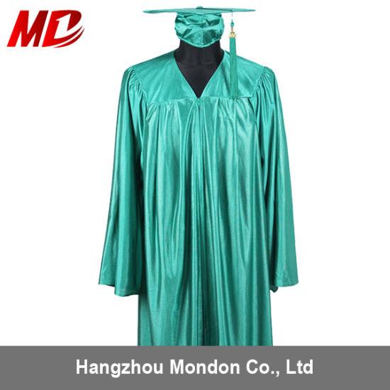 China Beautiful Color Shiny Gold High School Graduation Cap Gown