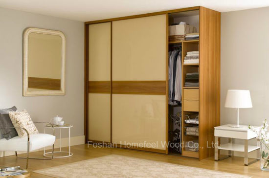 Cream Color High Gloss Modern Sliding Wardrobe (HF-EY046)