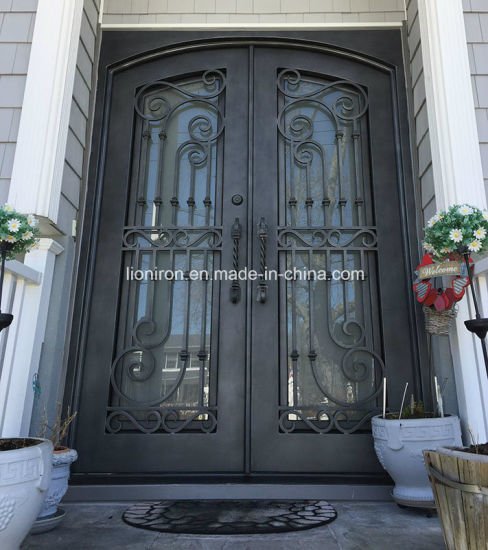 China 2018 Latest Grill Custom Iron Front Doors With Rain Glass
