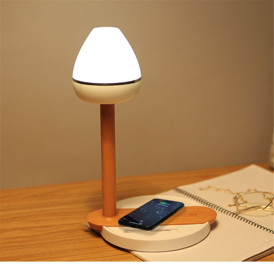 Wood Grain Design Multifunction LED Desk Lamp Phone Wireless Charging Pad Touch Induction Lamp Desktop Light for X8