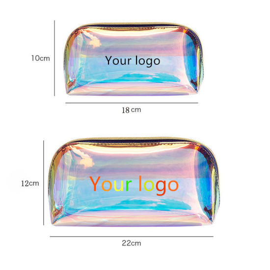 Custom Transparent TPU Holographic Cosmetic Bag Personalized Laser PVC Makeup Bag