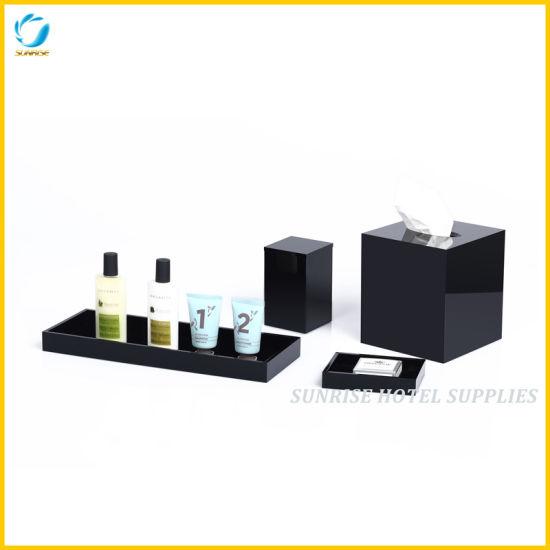 New Arrival 5 Star Hotel Black Acrylic Amenities Holders