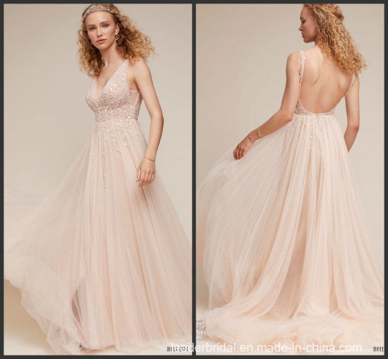 Blush Pink Formal Gowns Backless Celebrity Evening Dresses Z509