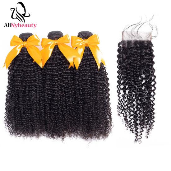 Wholesale Malaysian Kinky Curly Hair Bundles with Closure
