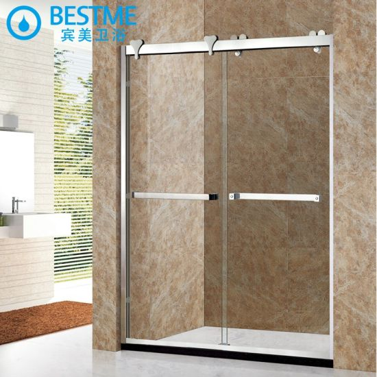 304 Stainless Steel Frameless Tempered Sliding Glass Shower Door Ga-105 pictures & photos