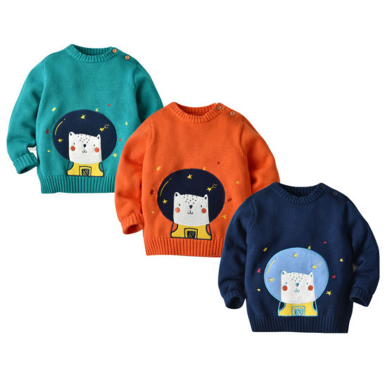 Boys Space Series Space Cat Pattern Pullover Knitwear