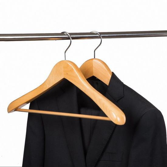 Deluxe Customized Natural Color Wide Shoulder Wood Clothing Hangers for Suit Jacket Coat