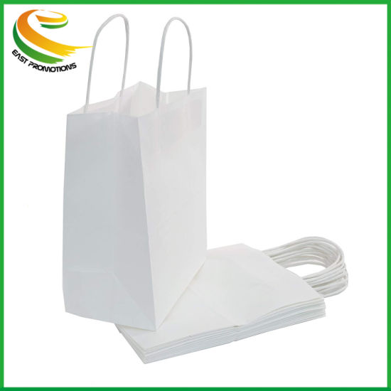 White Kraft Paper Gift Bags Bulk with Handles 100Pc Ideal for Shopping,...
