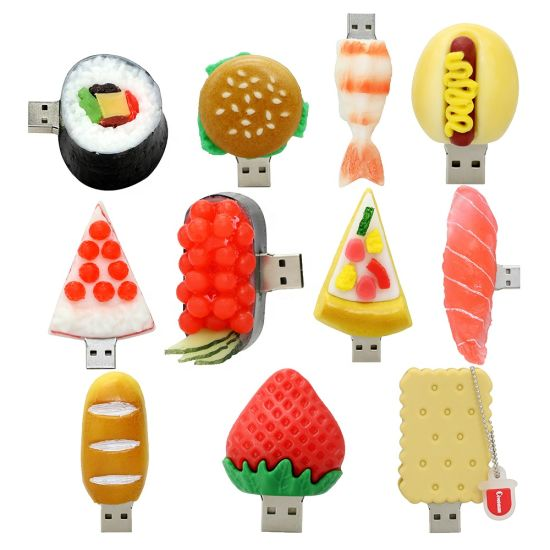Shenzhen Factory Supply Interesting Creative Cartoon Sushi Hamburger Food USB Flash Drive Pen Drive 16GB 32GB 64GB USB 2.0 Flash Memory Stick Gifts USB Stick