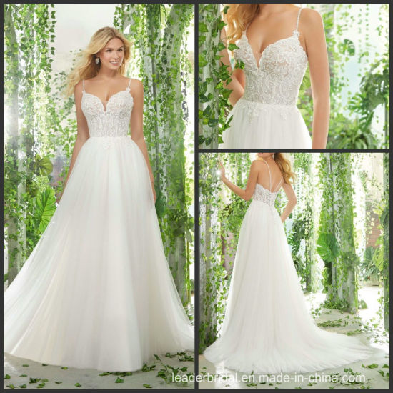China Beach Bridal Dresses Lace Garden Wedding Gowns W14822
