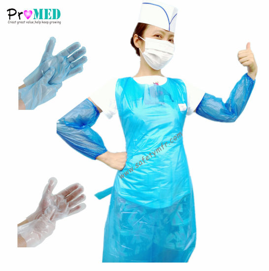 CE Approved Disposable Waterproof Restaurant/Hotel/Food service PP/NONWOVEN/PE/CPE/PLASTIC Glove/PE Apron