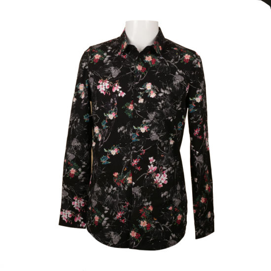 Digital Printed Long Sleeve Spring Cotton Shirt for Men