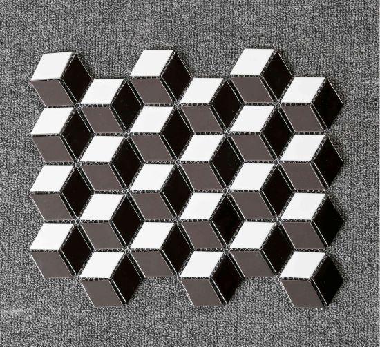 Three Colors 3D porcelain Mosaic Tile for Specail Decoration