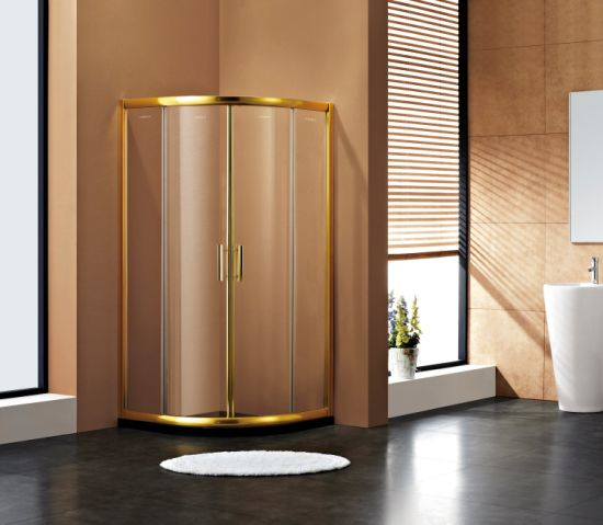 China Golden Anodized Finished Aluminium Frame Shower Cubicle Shower ...