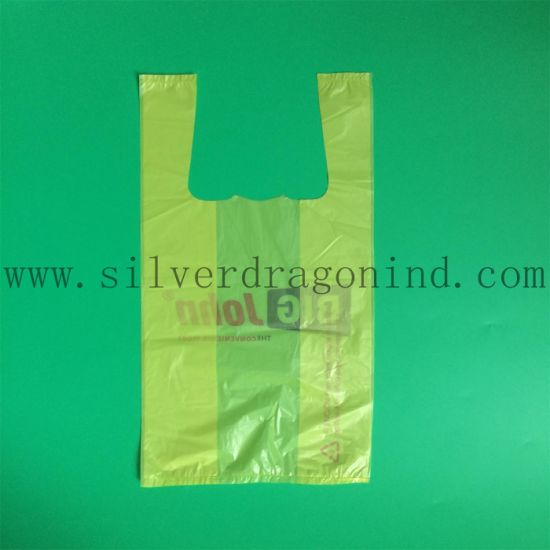 Yellow Transparent Plastic T-Shirt Bag with Logo Printing pictures & photos