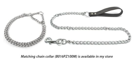 Premium Chain Heavy Duty Dog Leash - Strong Leather Handle Lead - Perfect Training Leashes for Large & Medium Size Pets pictures & photos