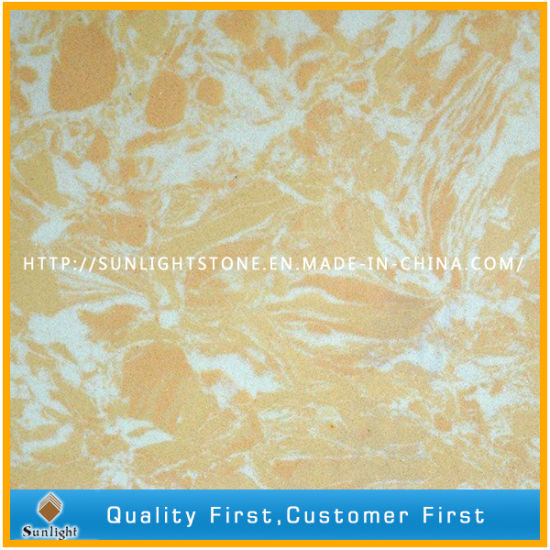 Yellow Engineered Quartz Stone Artificial Marble For Countertops And  Worktops