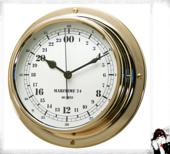 Military Time Clock >> 24 Hour Brass Case Military Time Clock Dial 180mm